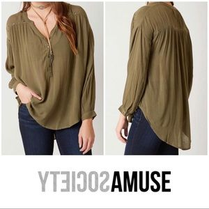 Amuse Society Green Studded Peasant Blouse Small S